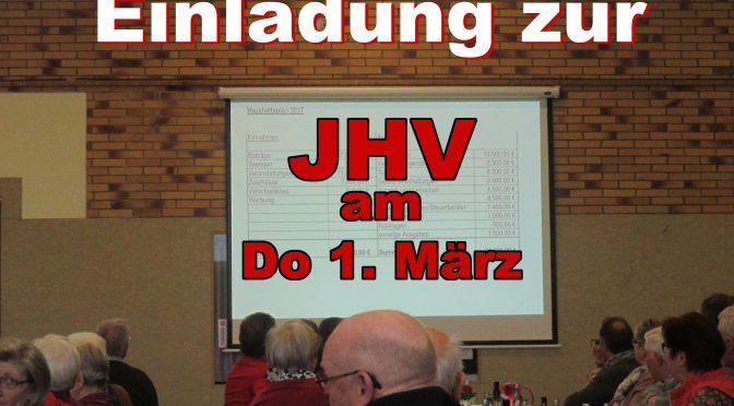 Mitgliederversammlung 1. März 19.00 Uhr